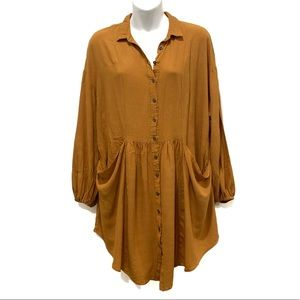 Free People Oversized Button Front Tunic